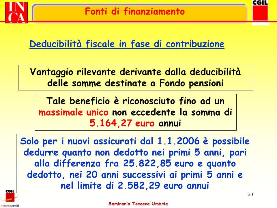 Seminario Toscana Umbria 23 Vantaggio rilevante derivante dalla deducibilità delle somme destinate a Fondo pensioni Tale beneficio è riconosciuto fino