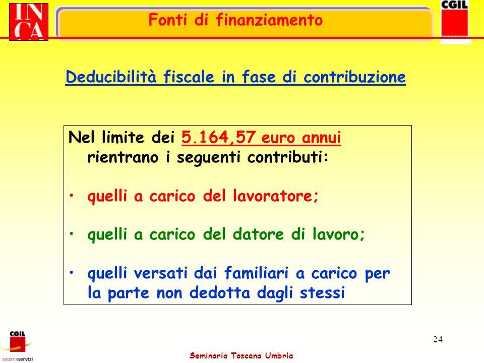 Seminario Toscana Umbria 24 Nel limite dei 5.164,57 euro annui rientrano i seguenti contributi: quelli a carico del lavoratore; quelli a carico del da