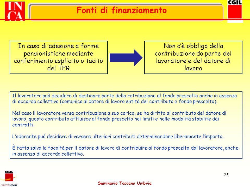 Seminario Toscana Umbria 25 In caso di adesione a forme pensionistiche mediante conferimento esplicito o tacito del TFR Fonti di finanziamento Non cè