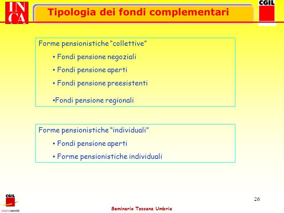 Seminario Toscana Umbria 26 Tipologia dei fondi complementari Forme pensionistiche collettive Fondi pensione negoziali Fondi pensione aperti Fondi pen