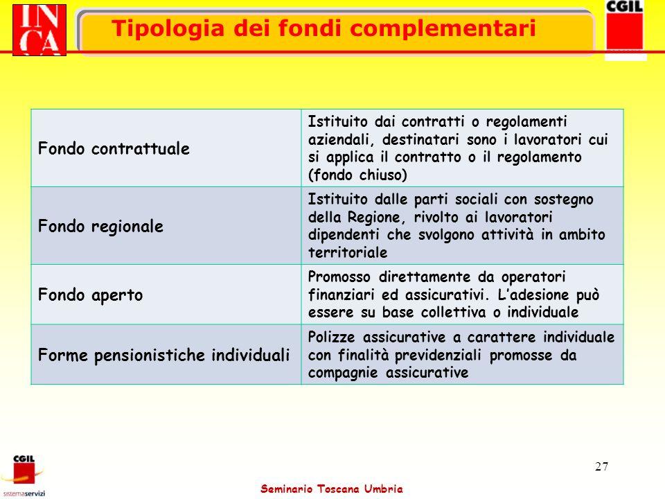 Seminario Toscana Umbria 27 Tipologia dei fondi complementari Fondo contrattuale Istituito dai contratti o regolamenti aziendali, destinatari sono i l
