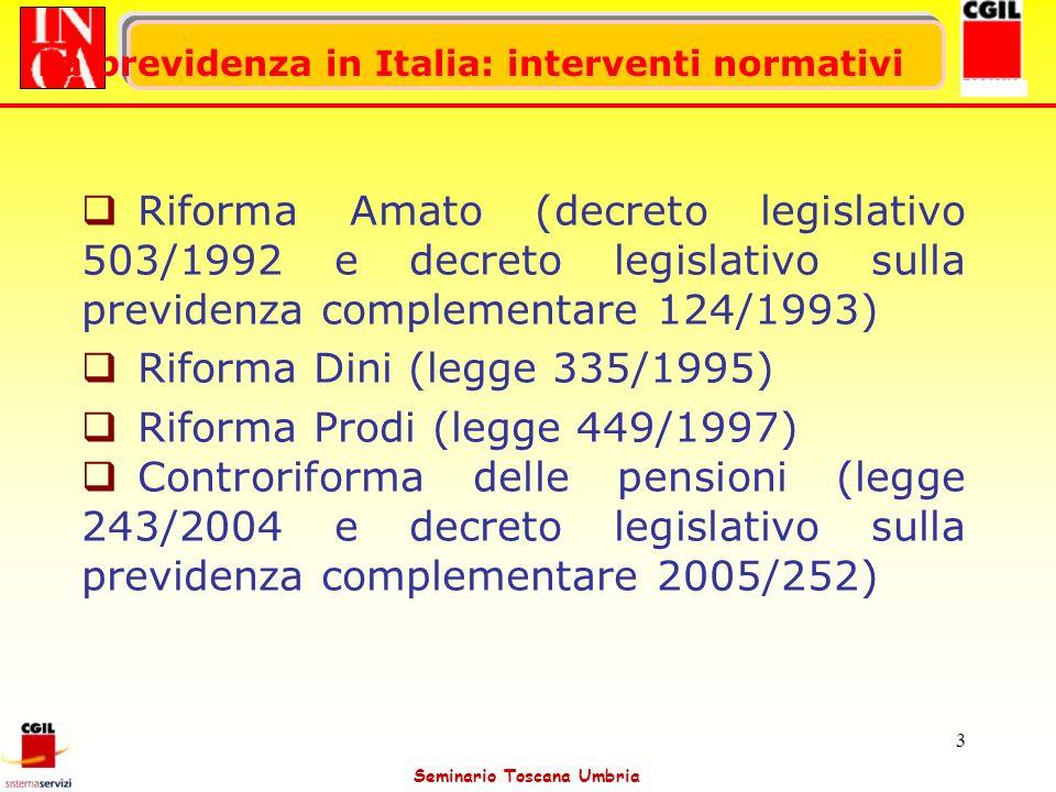 Seminario Toscana Umbria 3 La previdenza in Italia: interventi normativi Riforma Amato (decreto legislativo 503/1992 e decreto legislativo sulla previ