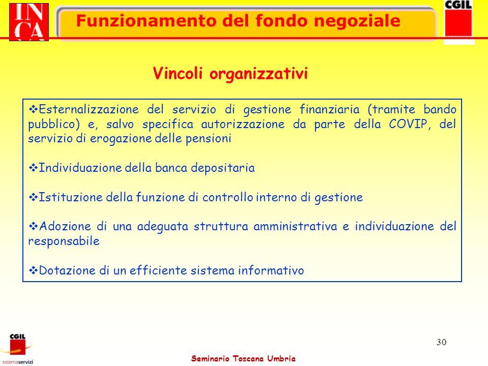 Seminario Toscana Umbria 30 Funzionamento del fondo negoziale Vincoli organizzativi Esternalizzazione del servizio di gestione finanziaria (tramite ba
