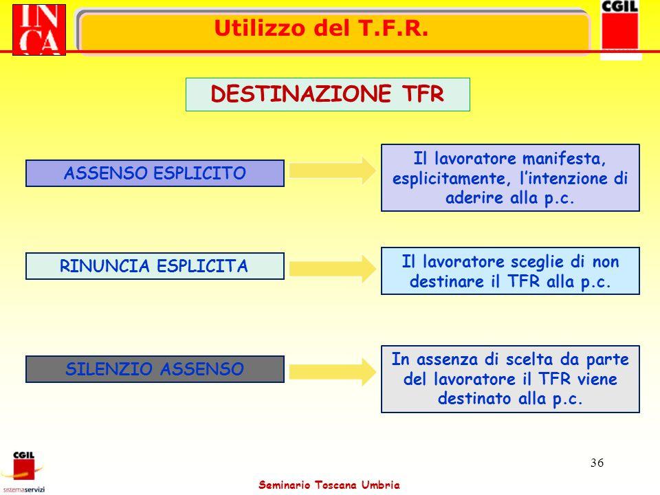 Seminario Toscana Umbria 36 Utilizzo del T.F.R. ASSENSO ESPLICITO Il lavoratore manifesta, esplicitamente, lintenzione di aderire alla p.c. RINUNCIA E