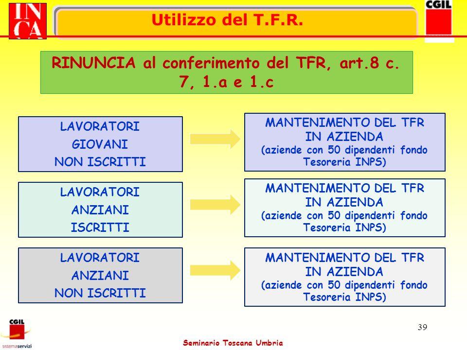 Seminario Toscana Umbria 39 LAVORATORI GIOVANI NON ISCRITTI LAVORATORI ANZIANI ISCRITTI LAVORATORI ANZIANI NON ISCRITTI MANTENIMENTO DEL TFR IN AZIEND