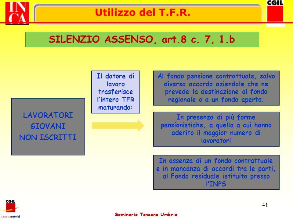 Seminario Toscana Umbria 41 LAVORATORI GIOVANI NON ISCRITTI In assenza di un fondo contrattuale e in mancanza di accordi tra le parti, al Fondo residu