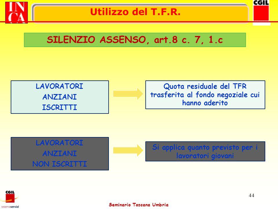 Seminario Toscana Umbria 44 SILENZIO ASSENSO, art.8 c. 7, 1.c Utilizzo del T.F.R. LAVORATORI ANZIANI ISCRITTI LAVORATORI ANZIANI NON ISCRITTI Si appli