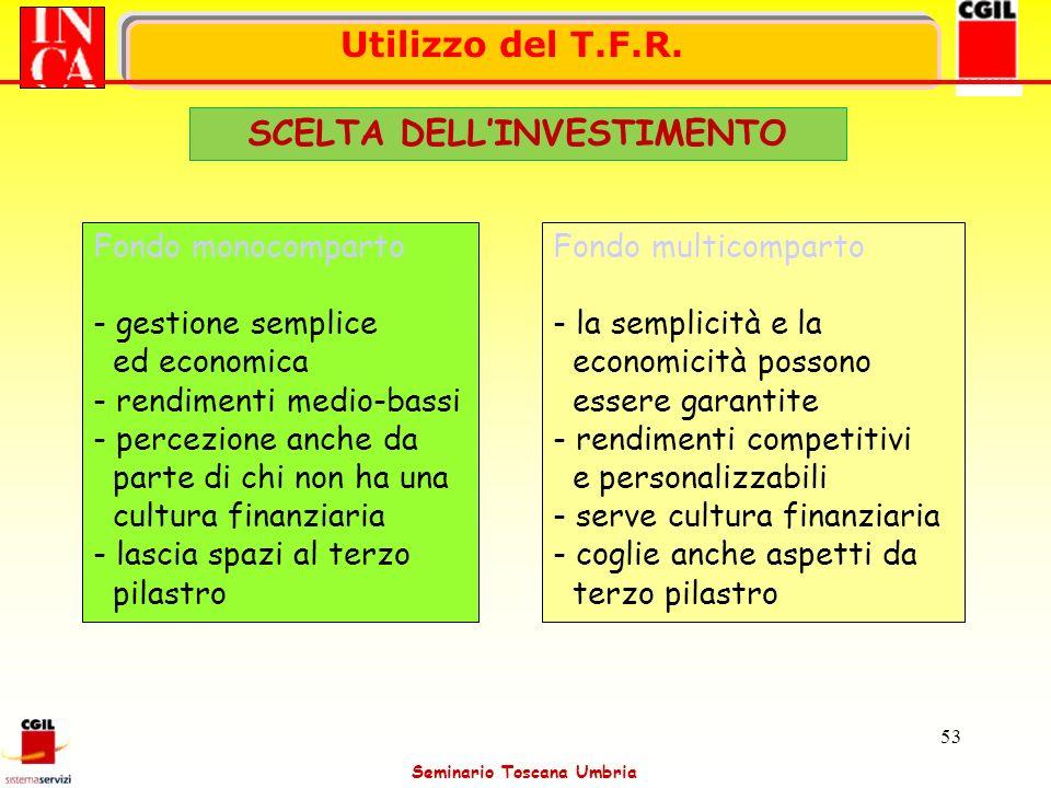 Seminario Toscana Umbria 53 Fondo monocomparto - gestione semplice ed economica - rendimenti medio-bassi - percezione anche da parte di chi non ha una