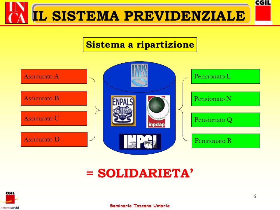 Seminario Toscana Umbria 7 IL SISTEMA PREVIDENZIALE Sistema Contributivo Sistema a capitalizzazione simulata Assicurato A Assicurato B Assicurato C Assicurato D Pensionato A Pensionato B Pensionato C Pensionato D = SOLIDARIETA/INDIVIDUALITA