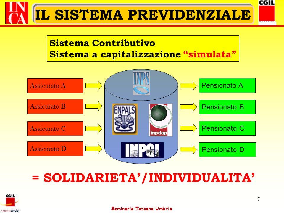 Seminario Toscana Umbria 7 IL SISTEMA PREVIDENZIALE Sistema Contributivo Sistema a capitalizzazione simulata Assicurato A Assicurato B Assicurato C As