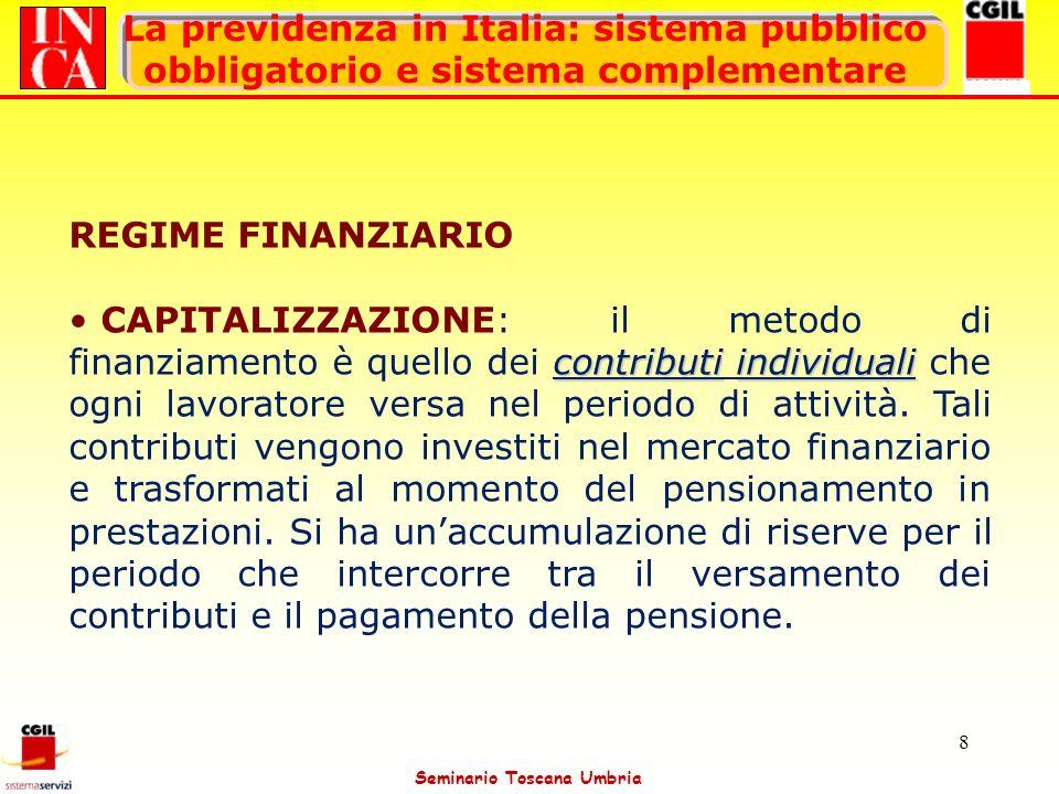 Seminario Toscana Umbria 8 La previdenza in Italia: sistema pubblico obbligatorio e sistema complementare REGIME FINANZIARIO contributiindividuali CAP