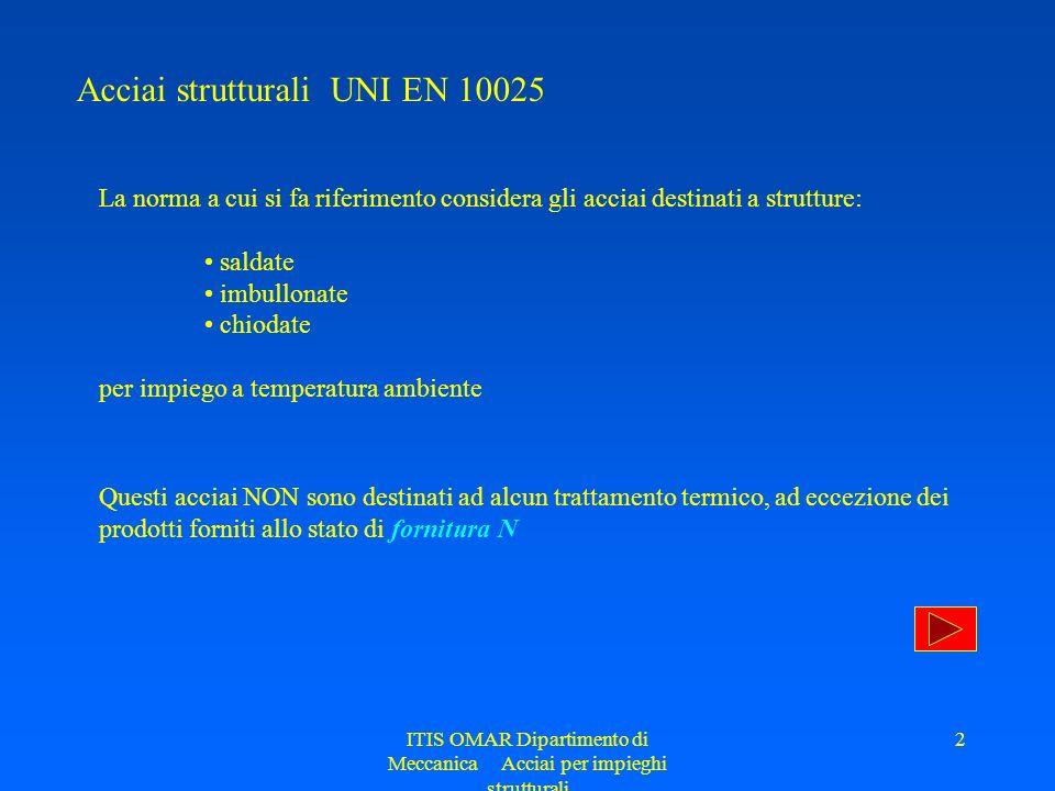 ITIS OMAR Dipartimento di Meccanica Acciai per impieghi strutturali 2 Acciai strutturali UNI EN 10025 La norma a cui si fa riferimento considera gli a