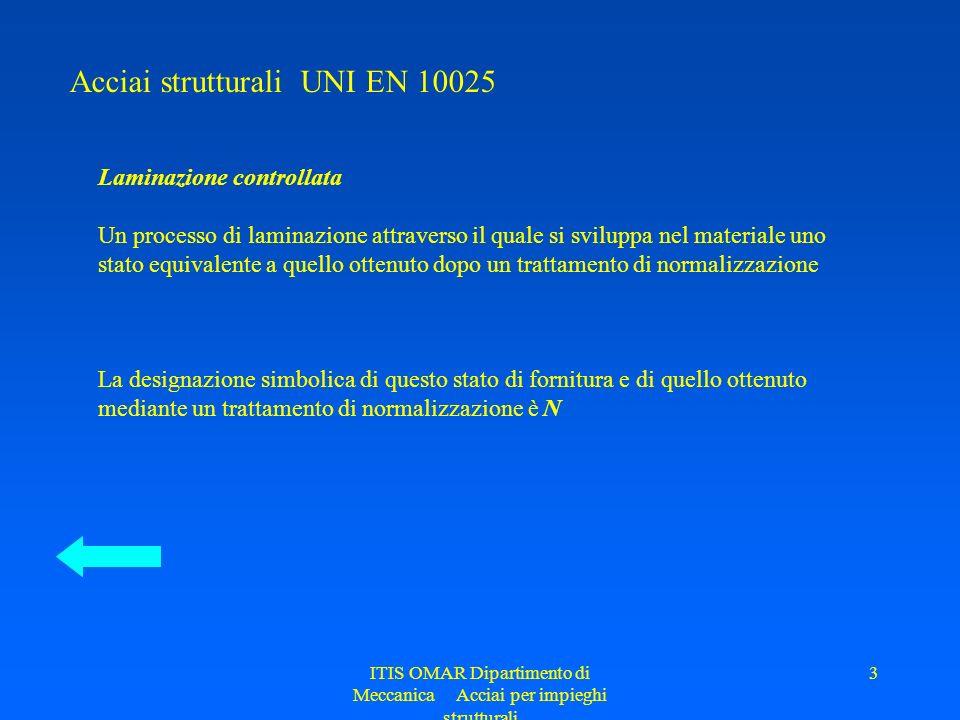 ITIS OMAR Dipartimento di Meccanica Acciai per impieghi strutturali 3 Acciai strutturali UNI EN 10025 Laminazione controllata Un processo di laminazio