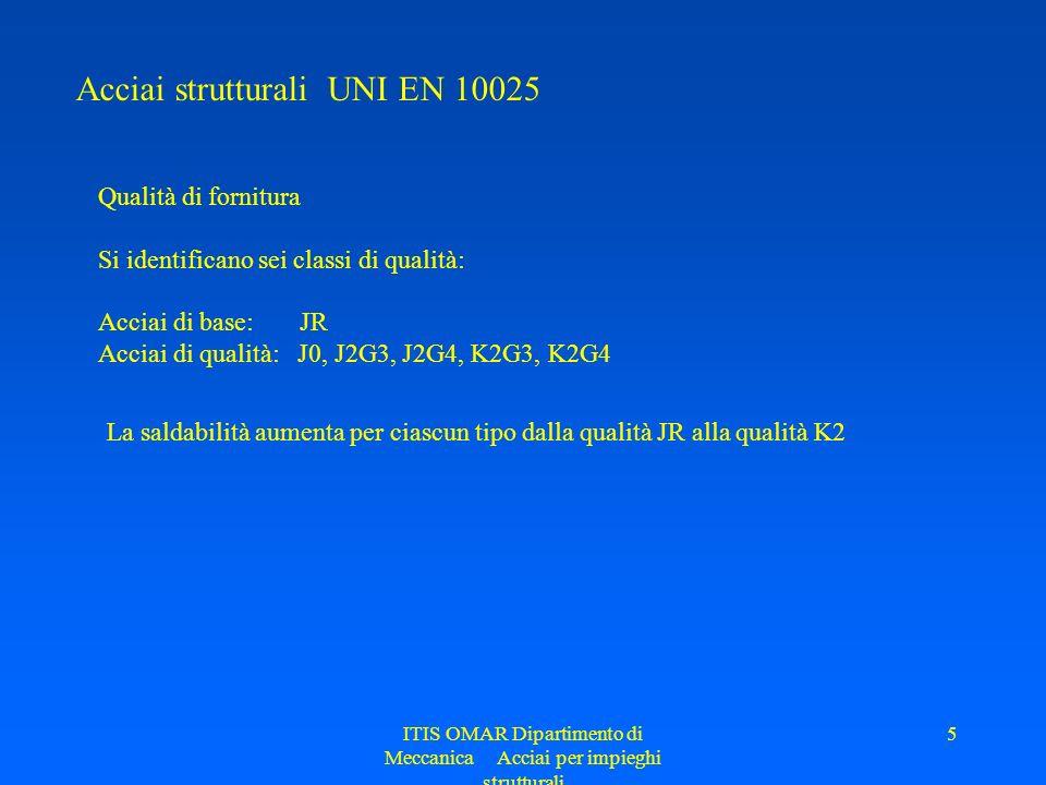 ITIS OMAR Dipartimento di Meccanica Acciai per impieghi strutturali 5 Acciai strutturali UNI EN 10025 Qualità di fornitura Si identificano sei classi