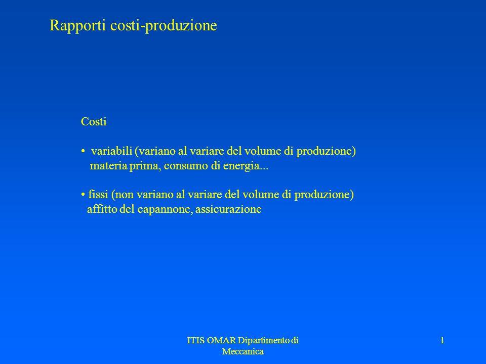 ITIS OMAR Dipartimento di Meccanica 1 Rapporti costi-produzione Costi variabili (variano al variare del volume di produzione) materia prima, consumo d