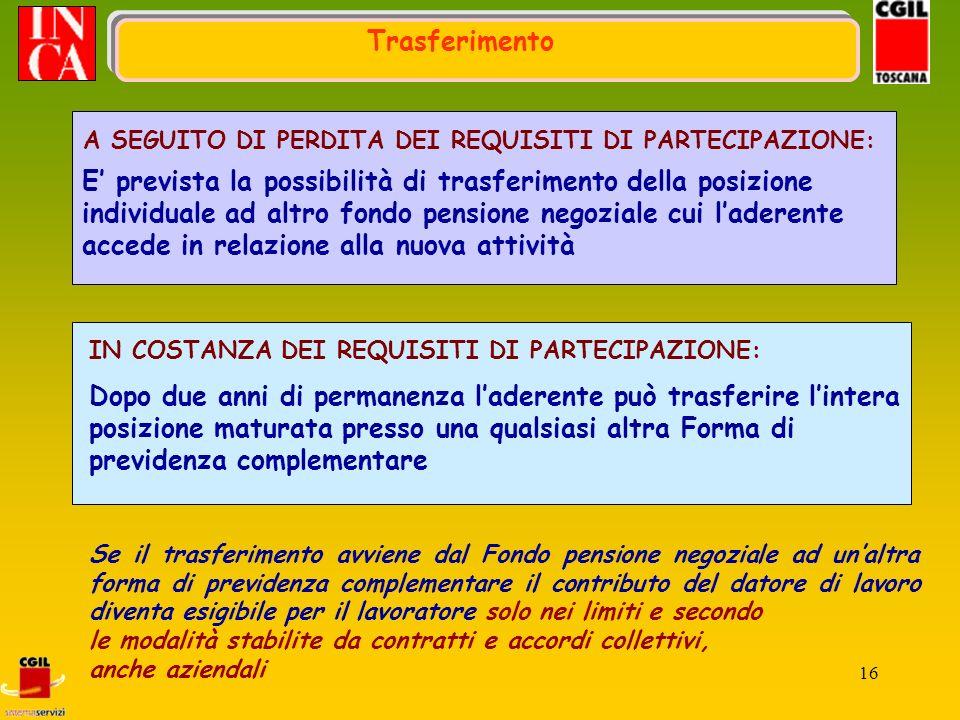 16 E prevista la possibilità di trasferimento della posizione individuale ad altro fondo pensione negoziale cui laderente accede in relazione alla nuo