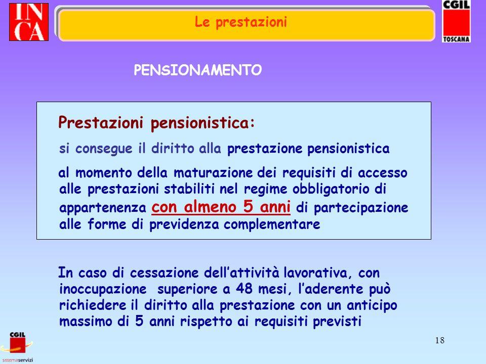18 Le prestazioni PENSIONAMENTO Prestazioni pensionistica: si consegue il diritto alla prestazione pensionistica al momento della maturazione dei requ