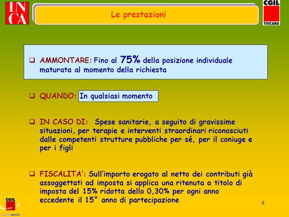 19 PENSIONAMENTO IN RENDITA E CAPITALE FINO AD UN MASSIMO DEL 50% IN RENDITA (pensione) IN CAPITALE 100%: nel caso in cui la rendita derivante dalla conversione di almeno il 70% del montante finale sia inferiore al 50% dellassegno sociale ( 2.658,81) FISCALITA: Sullimporto erogato al netto dei contributi già assoggettati ad imposta si applica una ritenuta a titolo di imposta del 15% ridotta dello 0,30% per ogni anno eccedente il 15° di partecipazione Nel computo dellimporto complessivo erogabile sono detratte le somme erogate a titolo di anticipazione qualora non reintegrate Le prestazioni