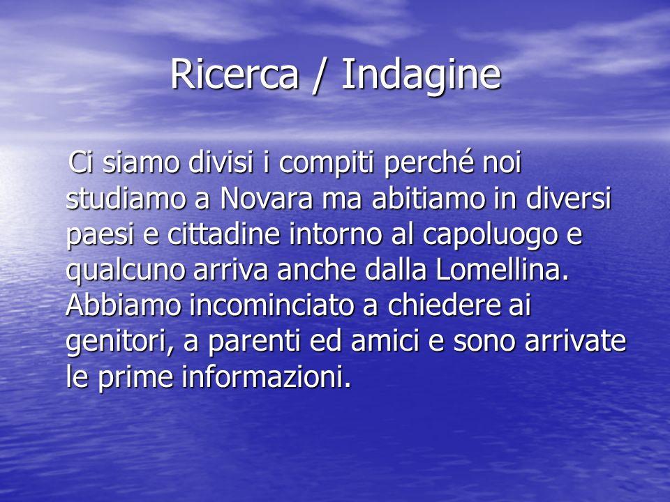 Ricerca / Indagine Ci siamo divisi i compiti perché noi studiamo a Novara ma abitiamo in diversi paesi e cittadine intorno al capoluogo e qualcuno arriva anche dalla Lomellina.