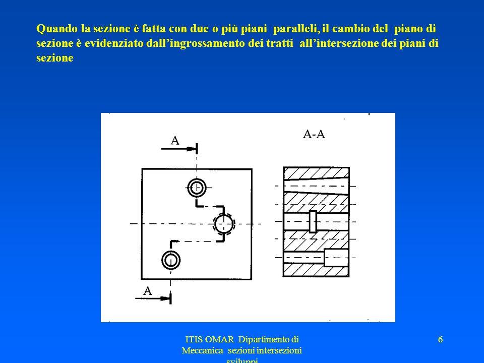 ITIS OMAR Dipartimento di Meccanica sezioni intersezioni sviluppi 6 Quando la sezione è fatta con due o più piani paralleli, il cambio del piano di sezione è evidenziato dallingrossamento dei tratti allintersezione dei piani di sezione