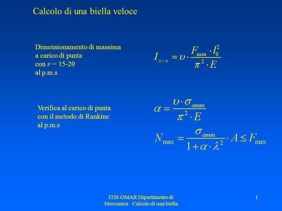ITIS OMAR Dipartimento di Meccanica Calcolo di una biella 1 Calcolo di una biella veloce Dimensionamento di massima a carico di punta con = 15-20 al p