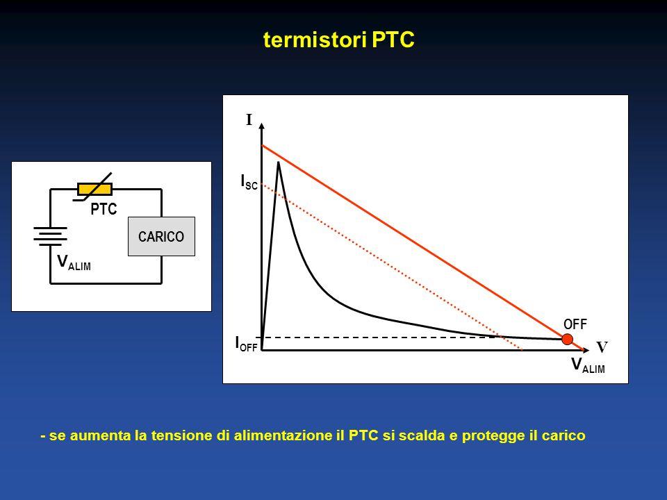 termistori PTC V I PTC CARICO V ALIM OFF I OFF V ALIM I SC - se aumenta la tensione di alimentazione il PTC si scalda e protegge il carico
