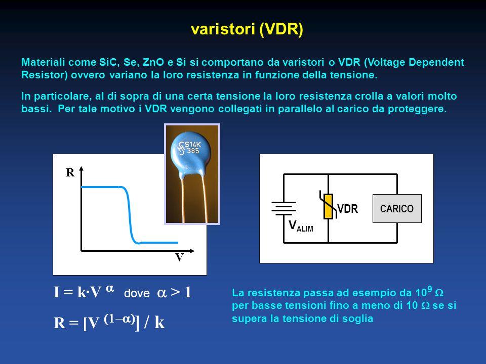 varistori (VDR) Materiali come SiC, Se, ZnO e Si si comportano da varistori o VDR (Voltage Dependent Resistor) ovvero variano la loro resistenza in fu