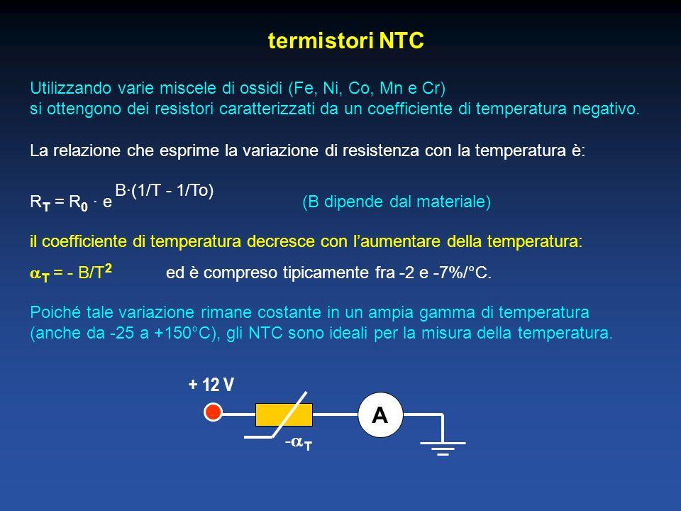 termistori NTC Utilizzando varie miscele di ossidi (Fe, Ni, Co, Mn e Cr) si ottengono dei resistori caratterizzati da un coefficiente di temperatura negativo.