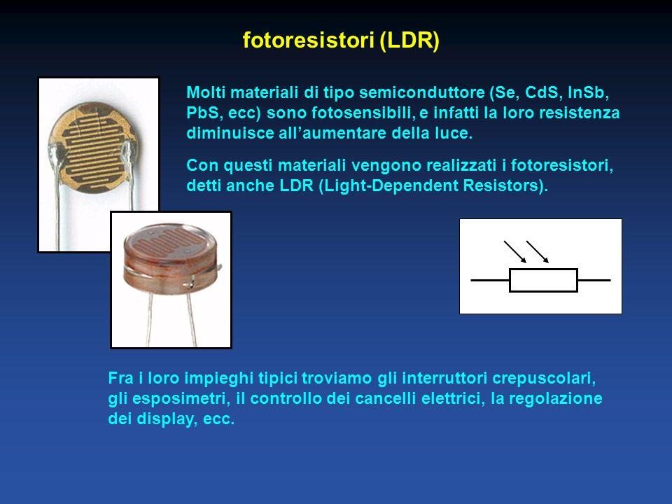 fotoresistori (LDR) Molti materiali di tipo semiconduttore (Se, CdS, InSb, PbS, ecc) sono fotosensibili, e infatti la loro resistenza diminuisce allaumentare della luce.