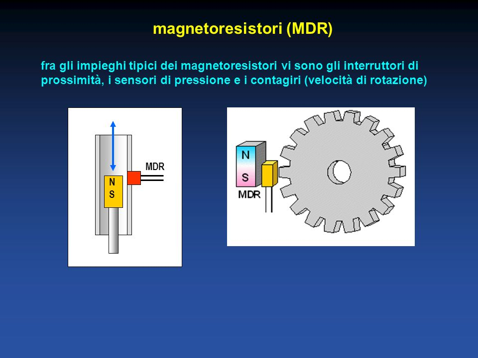 magnetoresistori (MDR) fra gli impieghi tipici dei magnetoresistori vi sono gli interruttori di prossimità, i sensori di pressione e i contagiri (velo