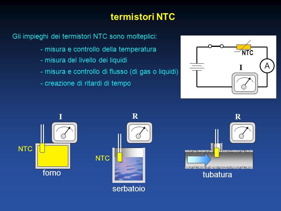 forno tubatura serbatoio termistori NTC Gli impieghi dei termistori NTC sono molteplici: - misura e controllo della temperatura NTC - misura del livello dei liquidi - misura e controllo di flusso (di gas o liquidi) - creazione di ritardi di tempo I R R A NTC I