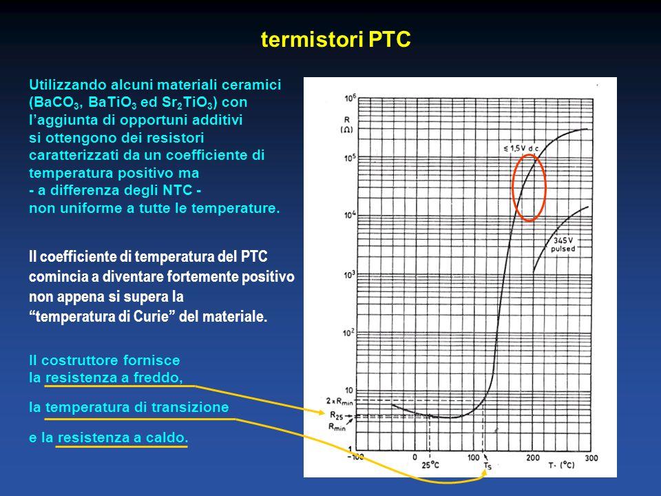 termistori PTC Utilizzando alcuni materiali ceramici (BaCO 3, BaTiO 3 ed Sr 2 TiO 3 ) con laggiunta di opportuni additivi si ottengono dei resistori caratterizzati da un coefficiente di temperatura positivo ma - a differenza degli NTC - non uniforme a tutte le temperature.