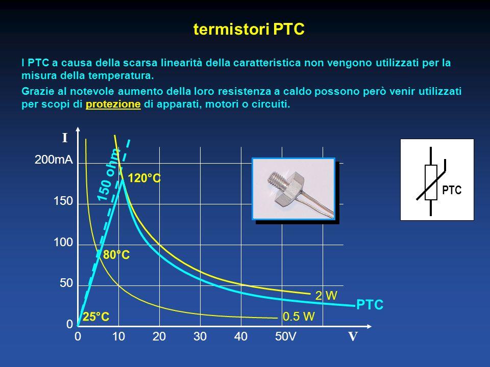 termistori PTC I PTC a causa della scarsa linearità della caratteristica non vengono utilizzati per la misura della temperatura. Grazie al notevole au