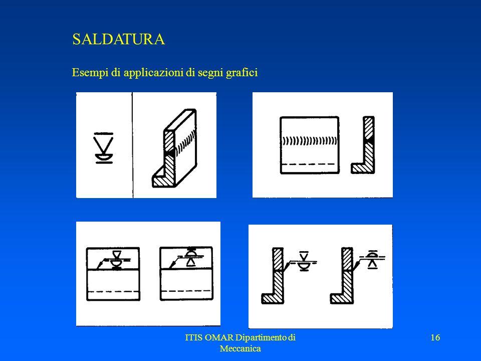 ITIS OMAR Dipartimento di Meccanica 15 SALDATURA Applicazione dei segni grafici supplementari Saldatura a V con cordone piano Saldatura a X con cordon