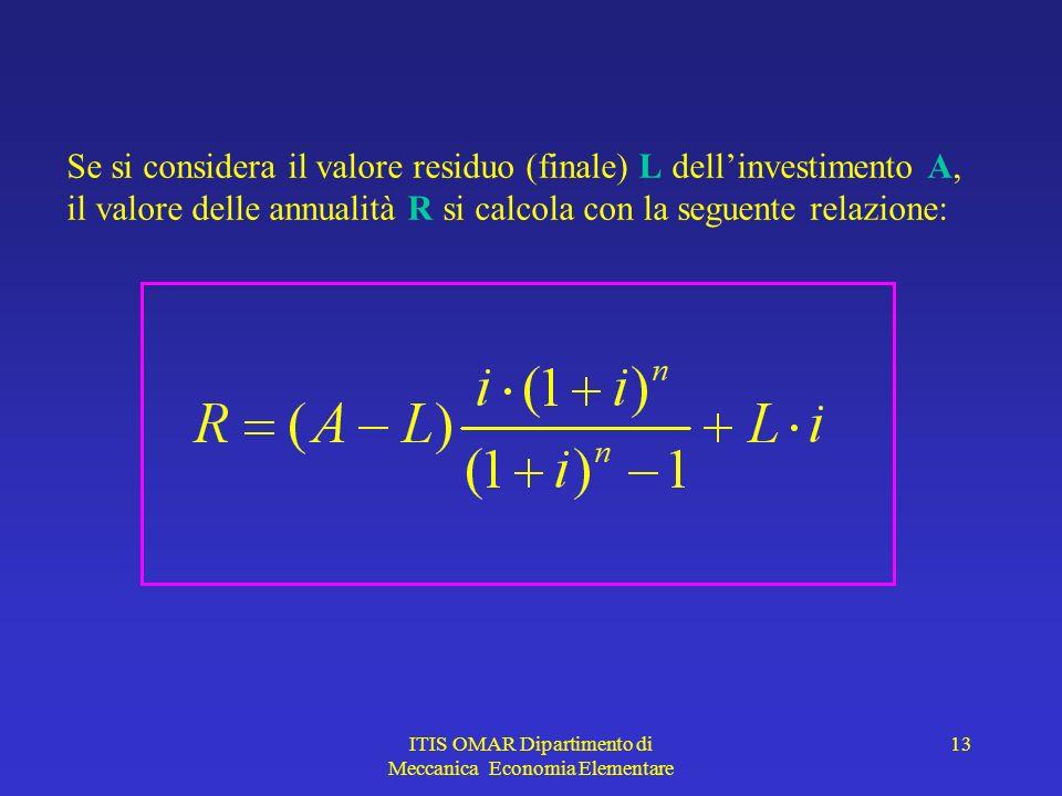 ITIS OMAR Dipartimento di Meccanica Economia Elementare 13 Se si considera il valore residuo (finale) L dellinvestimento A, il valore delle annualità R si calcola con la seguente relazione: