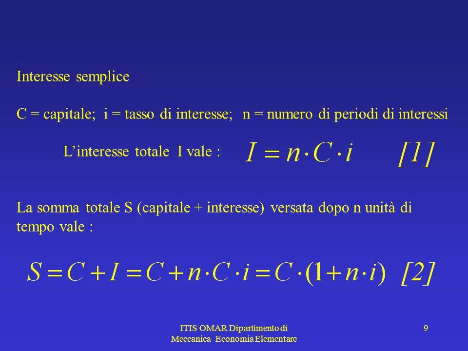 ITIS OMAR Dipartimento di Meccanica Economia Elementare 9 Interesse semplice C = capitale; i = tasso di interesse; n = numero di periodi di interessi Linteresse totale I vale : La somma totale S (capitale + interesse) versata dopo n unità di tempo vale :