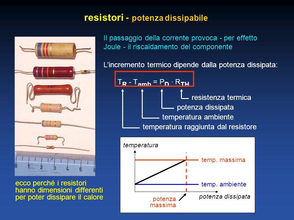 resistori - potenza dissipabile Il passaggio della corrente provoca - per effetto Joule - il riscaldamento del componente Lincremento termico dipende