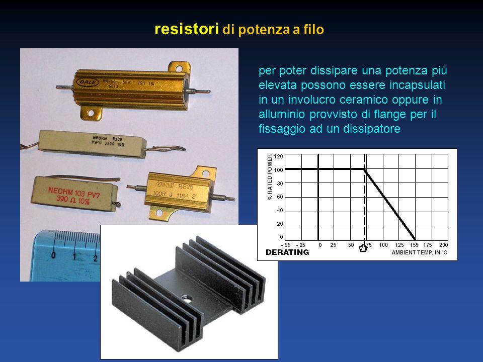 resistori di potenza a filo per poter dissipare una potenza più elevata possono essere incapsulati in un involucro ceramico oppure in alluminio provvi