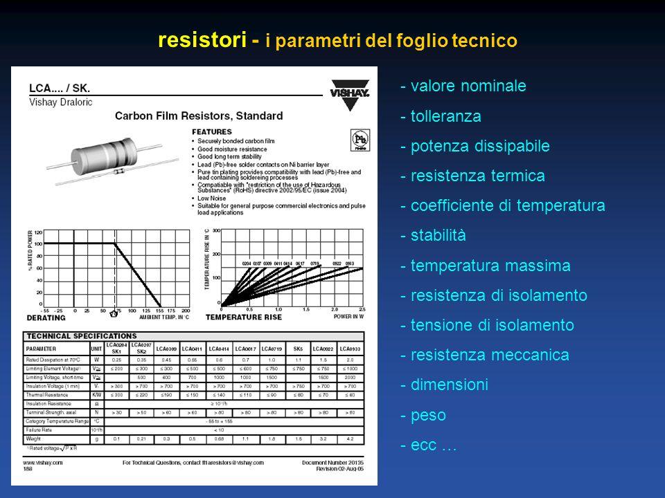 resistori - i parametri del foglio tecnico - valore nominale - tolleranza - potenza dissipabile - resistenza termica - coefficiente di temperatura - s