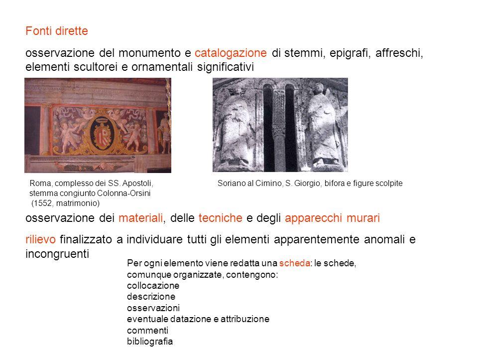 Fonti dirette osservazione del monumento e catalogazione di stemmi, epigrafi, affreschi, elementi scultorei e ornamentali significativi osservazione d