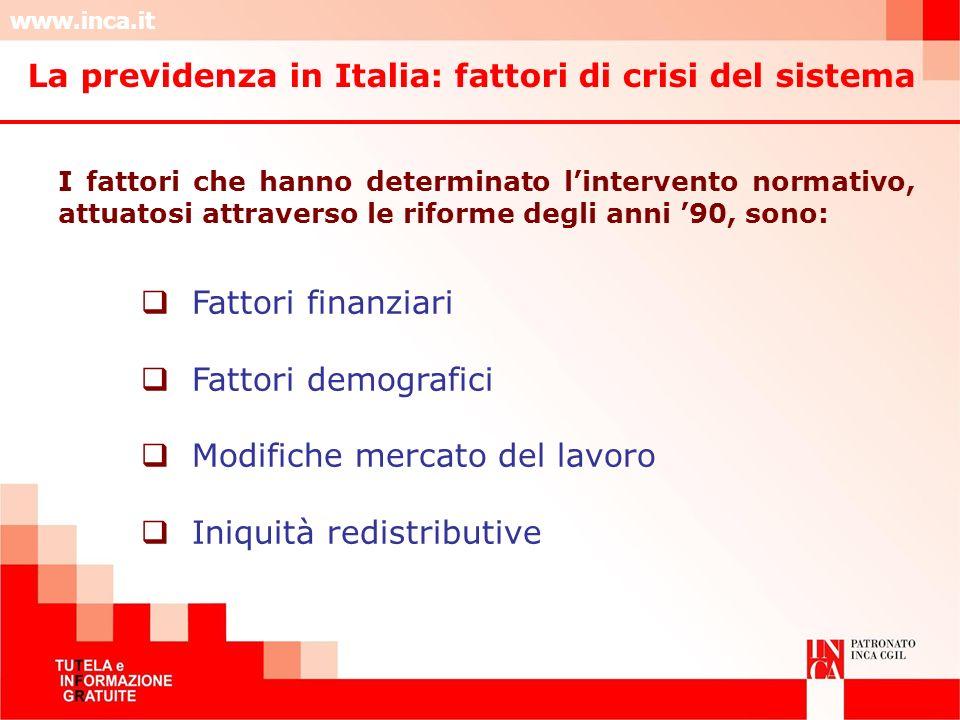 www.inca.it La previdenza in Italia: fattori di crisi del sistema I fattori che hanno determinato lintervento normativo, attuatosi attraverso le rifor