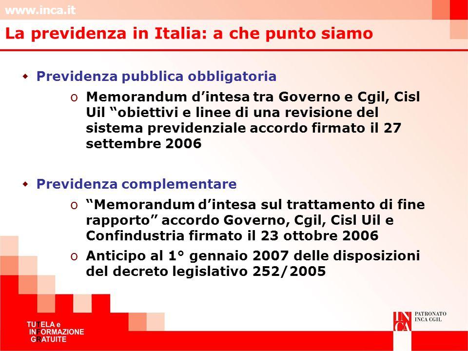 www.inca.it Previdenza pubblica obbligatoria oMemorandum dintesa tra Governo e Cgil, Cisl Uil obiettivi e linee di una revisione del sistema previdenz