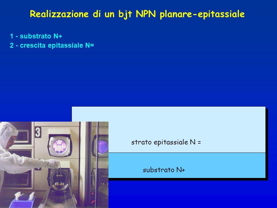 1 - substrato N+ 2 - crescita epitassiale N= strato epitassiale N = substrato N+ Realizzazione di un bjt NPN planare-epitassiale