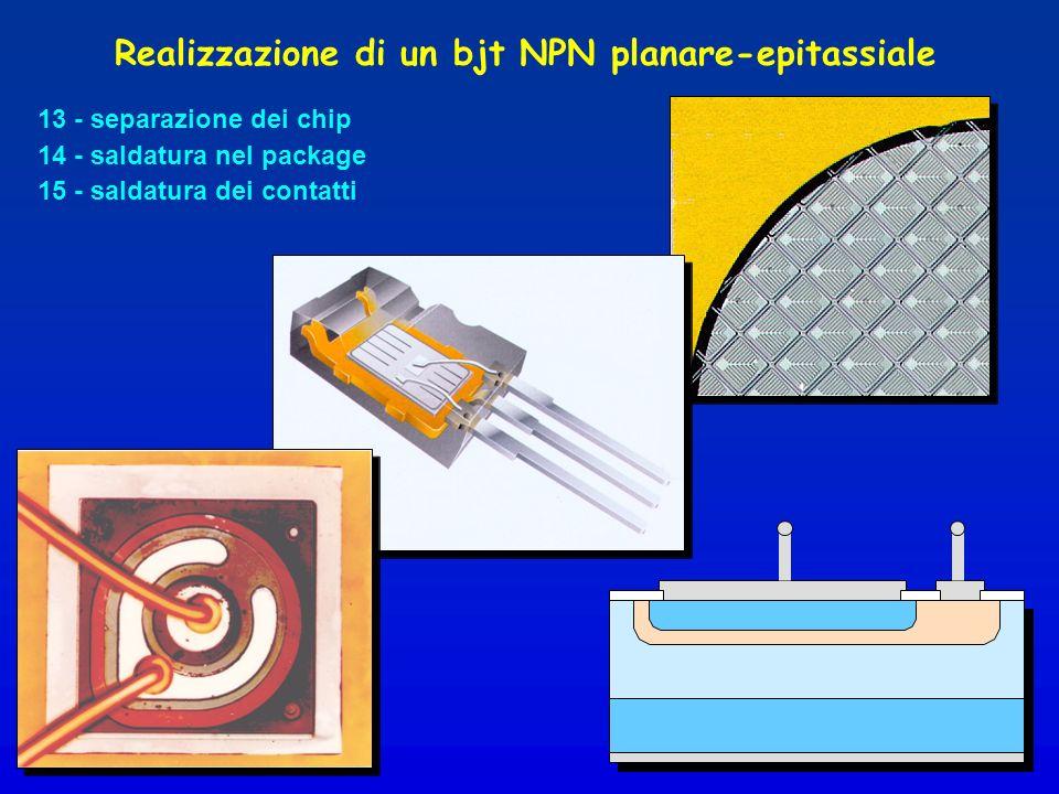 Realizzazione di un bjt NPN planare-epitassiale 13 - separazione dei chip 14 - saldatura nel package 15 - saldatura dei contatti
