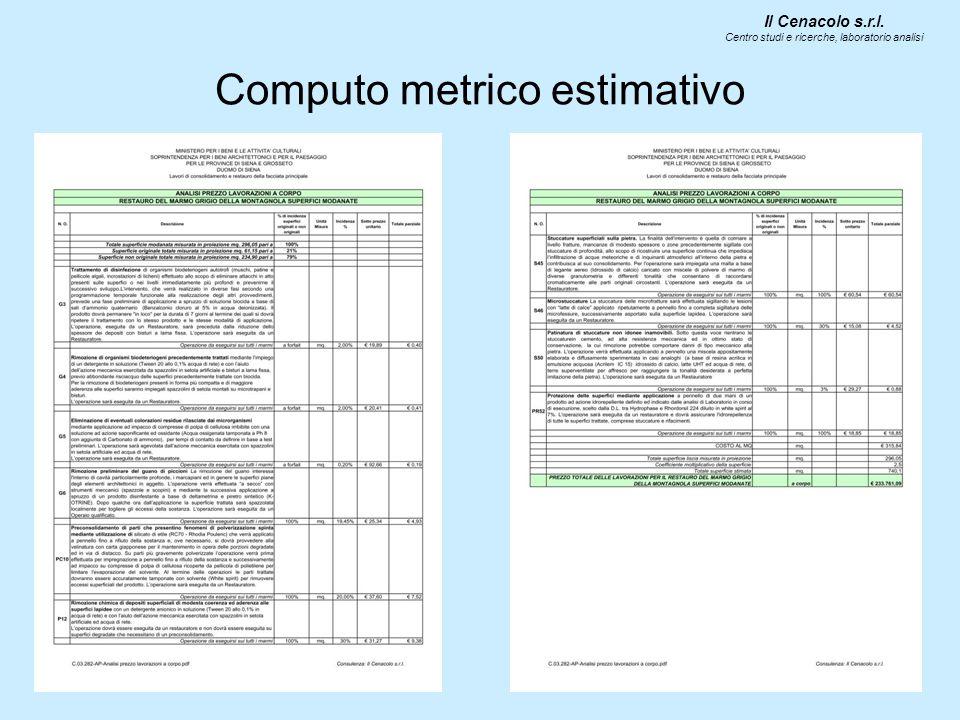 Computo metrico estimativo Il Cenacolo s.r.l. Centro studi e ricerche, laboratorio analisi