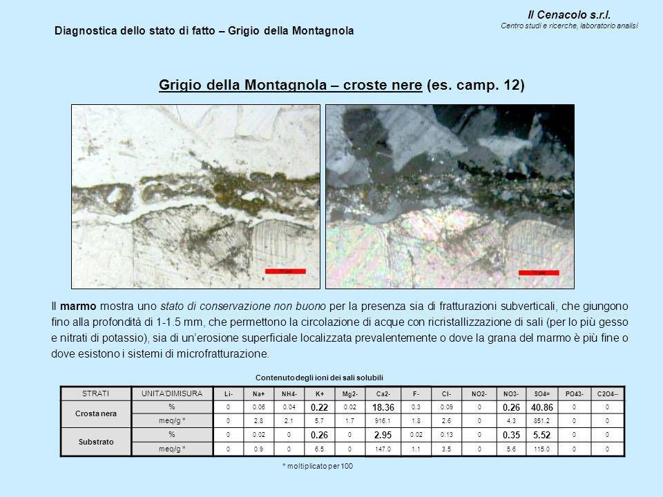 Il Cenacolo s.r.l. Centro studi e ricerche, laboratorio analisi Diagnostica dello stato di fatto – Grigio della Montagnola Grigio della Montagnola – c