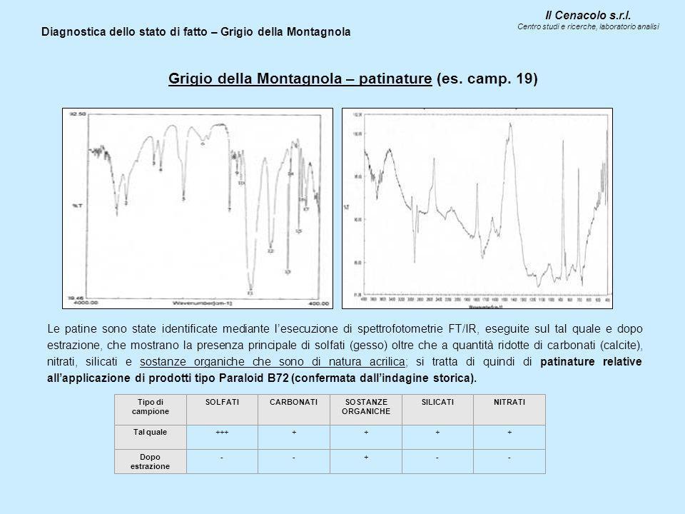 Il Cenacolo s.r.l. Centro studi e ricerche, laboratorio analisi Diagnostica dello stato di fatto – Grigio della Montagnola Grigio della Montagnola – p