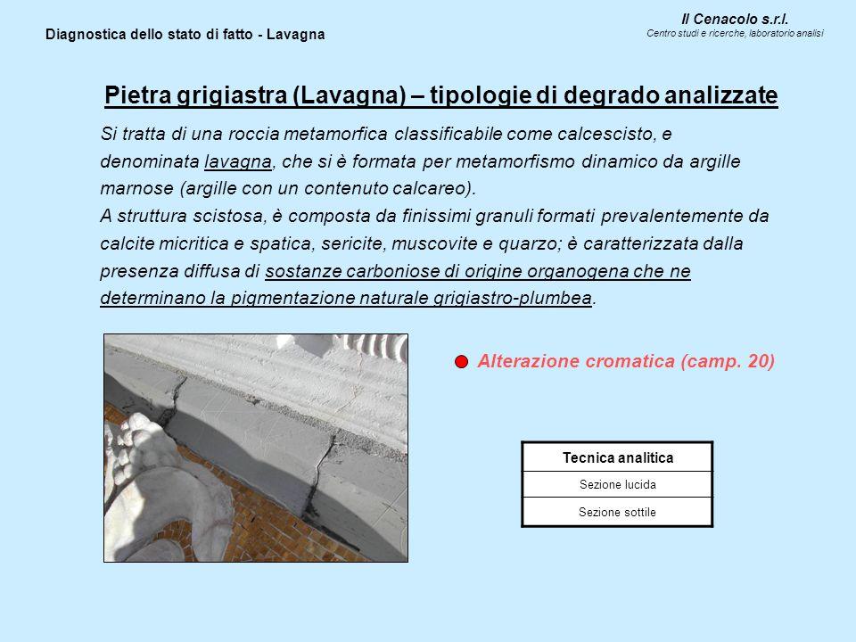 Il Cenacolo s.r.l. Centro studi e ricerche, laboratorio analisi Diagnostica dello stato di fatto - Lavagna Tecnica analitica Sezione lucida Sezione so