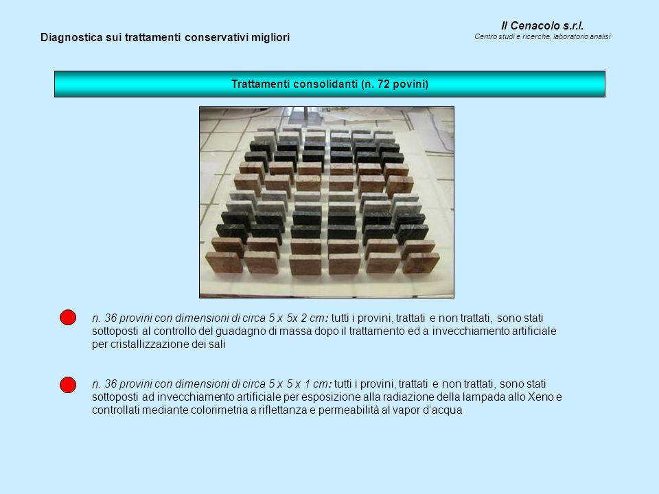 Il Cenacolo s.r.l. Centro studi e ricerche, laboratorio analisi n. 36 provini con dimensioni di circa 5 x 5x 2 cm: tutti i provini, trattati e non tra