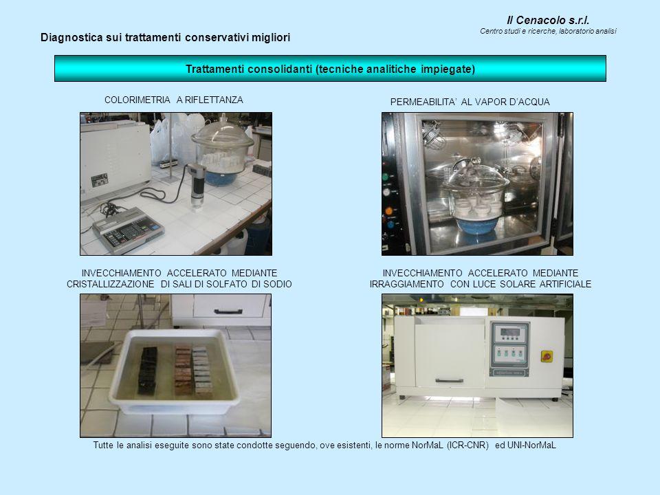 Il Cenacolo s.r.l. Centro studi e ricerche, laboratorio analisi Trattamenti consolidanti (tecniche analitiche impiegate) INVECCHIAMENTO ACCELERATO MED